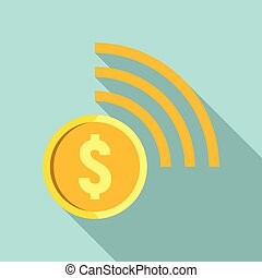 Contactless payment icon, flat style - Contactless payment...