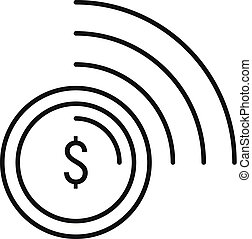 Contactless payment icon, outline style - Contactless...