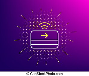 Contactless payment line icon. Credit card sign. Vector -...