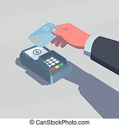 Contactless payment. Male hand holding credit card. NFC...
