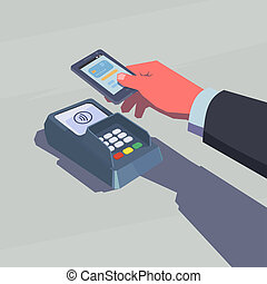 Contactless payment. Male hand holding mobile phone. NFC...
