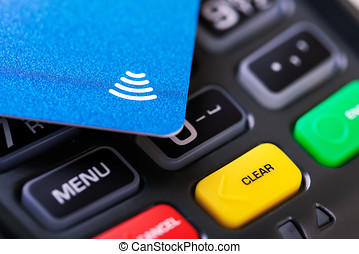 contactless payment - nfc credit card on transaction...