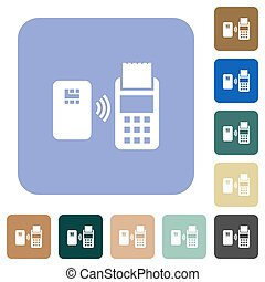 Contactless payment rounded square flat icons - Contactless...