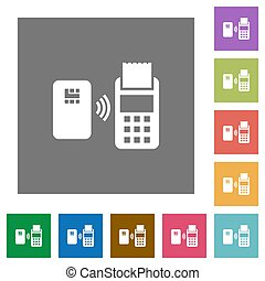 Contactless payment square flat icons - Contactless payment...