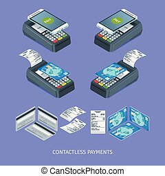 Contactless payment terminal. Images of payment machine,...