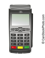 Contactless payment terminal isolated on white background -...