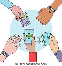 contactless payment users hands around