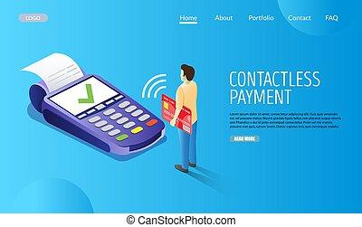 Contactless payment vector website landing page design...