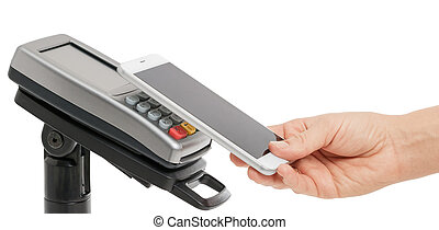 Contactless payment with NFC technology - Female hand use...