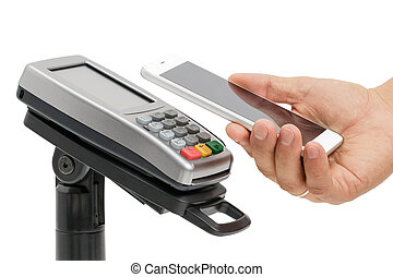 Contactless payment with NFC technology - Male hand use...