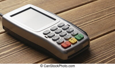 Contactless payment with smartphone - Close-up view of...