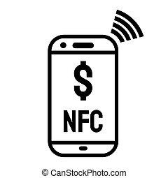 contactless, telefon, wpłata, ikona