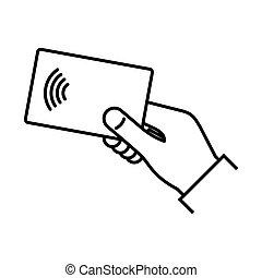 Contactless wireless pay. NFC technology - NFC technology....