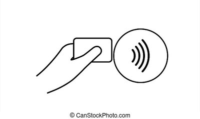 Contactless wireless pay sign logo. NFC technology. stock illustration