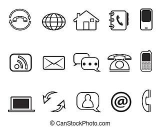 contacto, conjunto, contorno, iconos