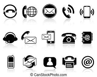 contacto, conjunto, iconos