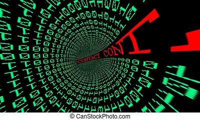 contacto, datos, túnel