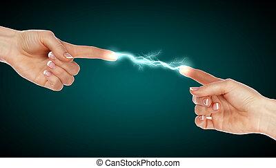 contacto, manos humanas