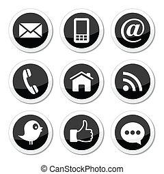 contacto, medios, social, tela, iconos