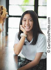 contacto, mirar, cara, dentudo, asiático, adolescente, ojo, sonriente