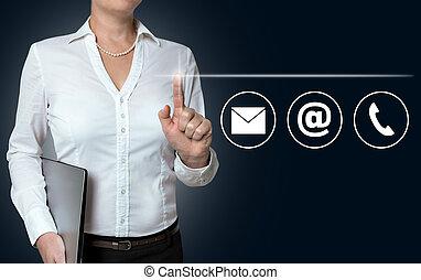 contacto, opciones, touchscreen, es, operado, por, mujer de negocios