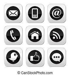 contacto, tela, blog, y, social, medios