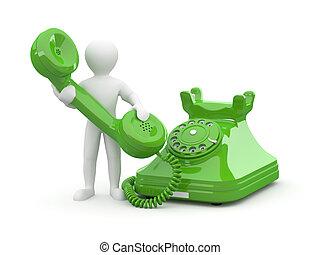 contacto, us., hombres, con, teléfono., 3d