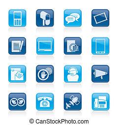 contacto, y, comunicación, iconos