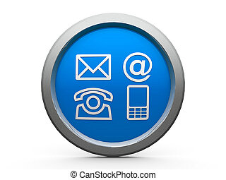 Contacts icon - Blue contacts emblem is communication, three...