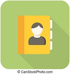 Contacts icon flat design with long shadows