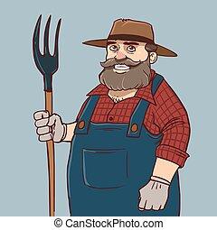 contadino, cartone animato, divertente