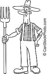 contadino, coloritura, cartone animato, pagina