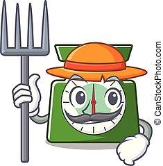 contadino, cucina, scala, carattere, cartone animato