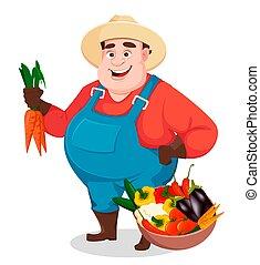 contadino, divertente, agronomist., grasso, giardiniere