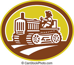 contadino, guidare, vendemmia, trattore, ovale, retro