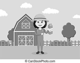 contadino, holding donna, latte