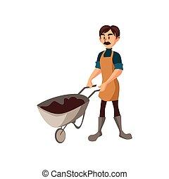 contadino, lavoro, illustrazione, vettore, terra, carriola, maschio, cartone animato, giardiniere