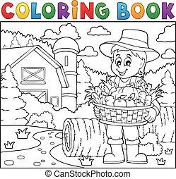 contadino, libro, coloritura, raccogliere