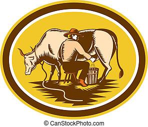 contadino, mungitura, mucca, ovale, woodcut