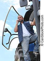 contadino, telefono, suo, trattore, parlare