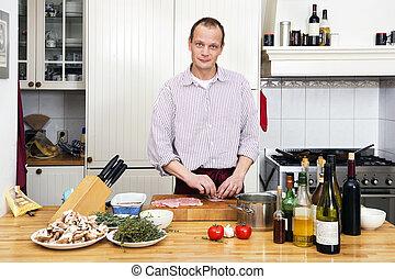 contador cozinha, carne, preparar, homem