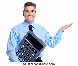 contador, hombre de negocios, con, calculator.
