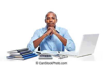 contador, hombre, trabajando, en, oficina