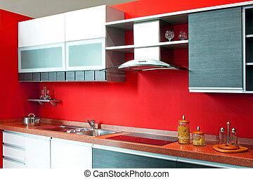 contador, vermelho, cozinha