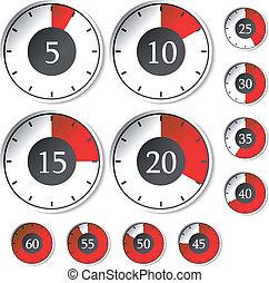 contadores de tiempo, vector, conjunto, rojo
