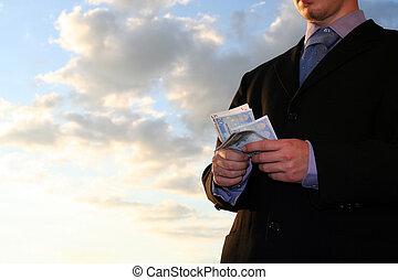 contagem, a, dinheiro