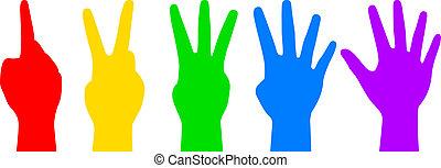 contagem, coloridos, mãos