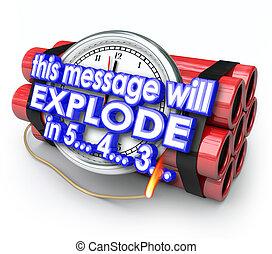 contagem regressiva, bomba, este, explodir, vontade, prazo...