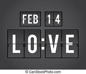 contagem regressiva, splitflap, dia, valentine