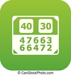 contagem, vetorial, verde, tábua, partida, ícone